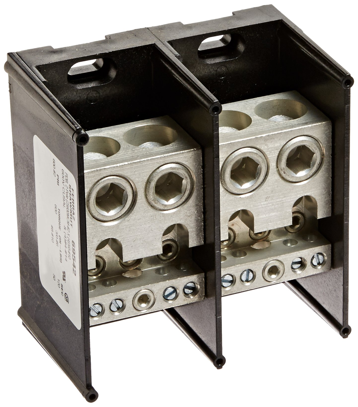 Mersen 69000 Aluminum Large Open Style Box to Stud PDB with 2-Pole and 4 Stud, #14-4 and 3/0-#10 Wire Size, 840 Ampere by Mersen
