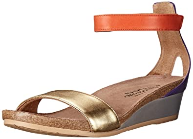 Naot Women's Pixie Wedge Sandal, Gold Combo, ...