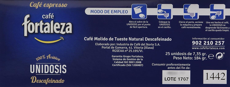 Café FORTALEZA - Cápsulas de Café Descafeinado Sistema ESE 44 - Pack 1 x 25 - Total 25 unidosis: Amazon.es: Alimentación y bebidas