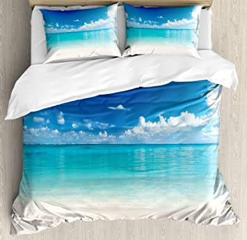 Matrimonio Bed Ocean : Ocean decor funda de edredón set por ambesonne natural costera