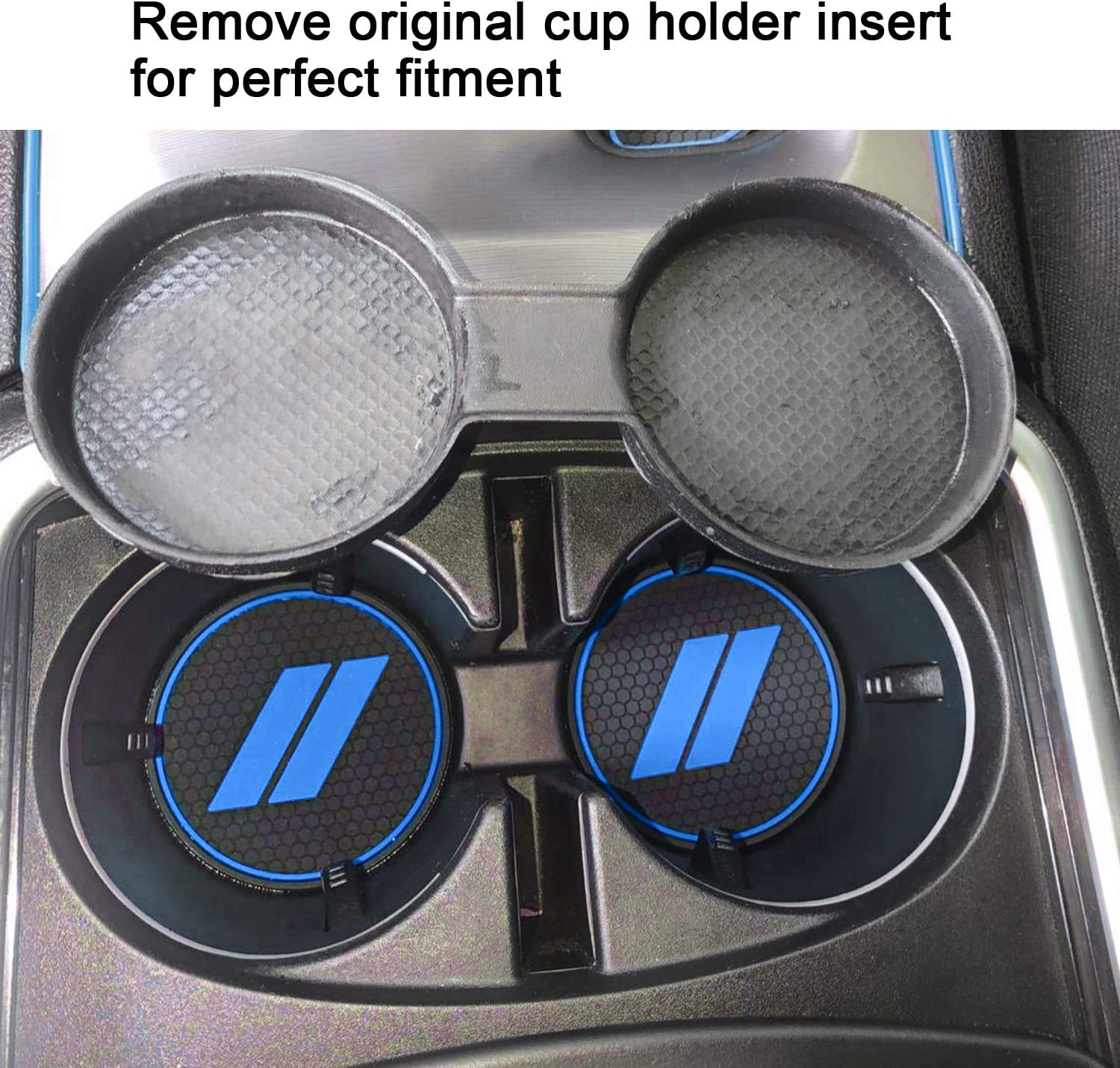Blue Trim Center Console Liners Mat ABESTcar for Dodge Charger Accessories Cup Holder Insert 2015-2020 Interior Pocket Liners 6-pc