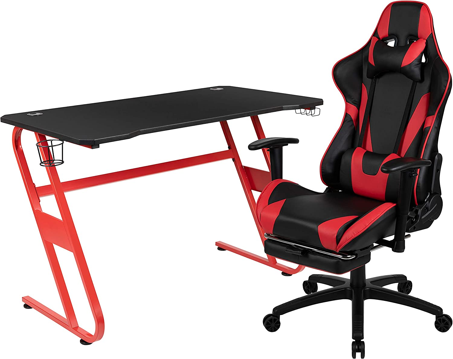Flash Furniture Red Gaming Desk and Red/Black Footrest Reclining Gaming Chair Set with Cup Holder and Headphone Hook
