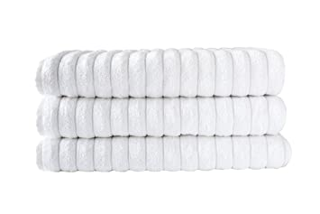 classic turkish towels jacquard rib style white jumbo bath sheet 3pieces