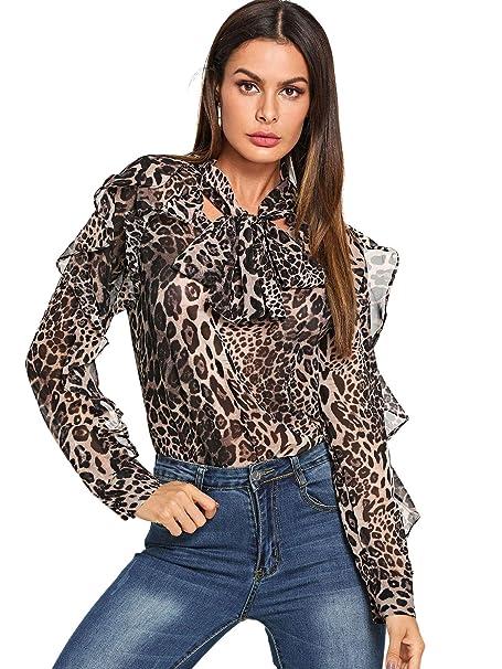 a746cdf74d51a Verdusa Women s Leopard Print Tie Neck Long Sleeve Chiffon Blouse Shirt  Multicolor S