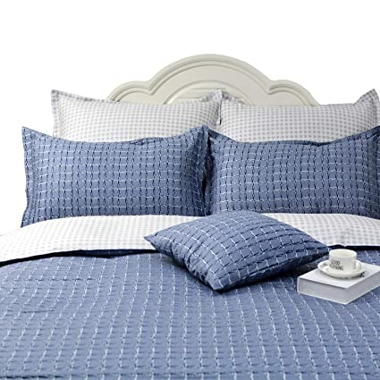 Tealp Mens Bedding Queen Soft Cotton Duvet Cover Set 3 Pieces Reversible Checkered Plaid Bedding Set Gray Blue Queen