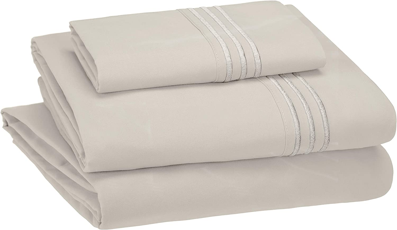 AmazonBasics Premium, Easy-Wash Embroidered Hotel Stitch 120 GSM Sheet Set - Twin, Light Grey