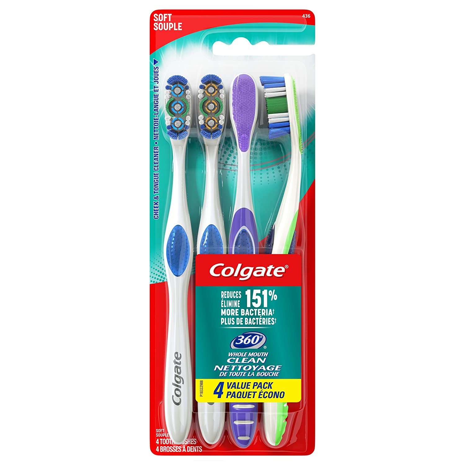 Colgate 360° Toothbrush with Tongue and Cheek Cleaner, Soft - 4 Count