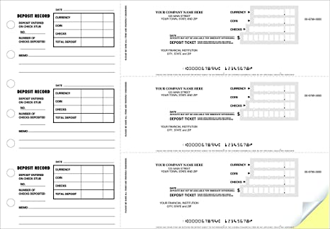 CheckSimple 3-to-A-Page Deposit Slips (2-Part) - Manual w/Stubs for  Business Deposits (150 Qty) - Custom