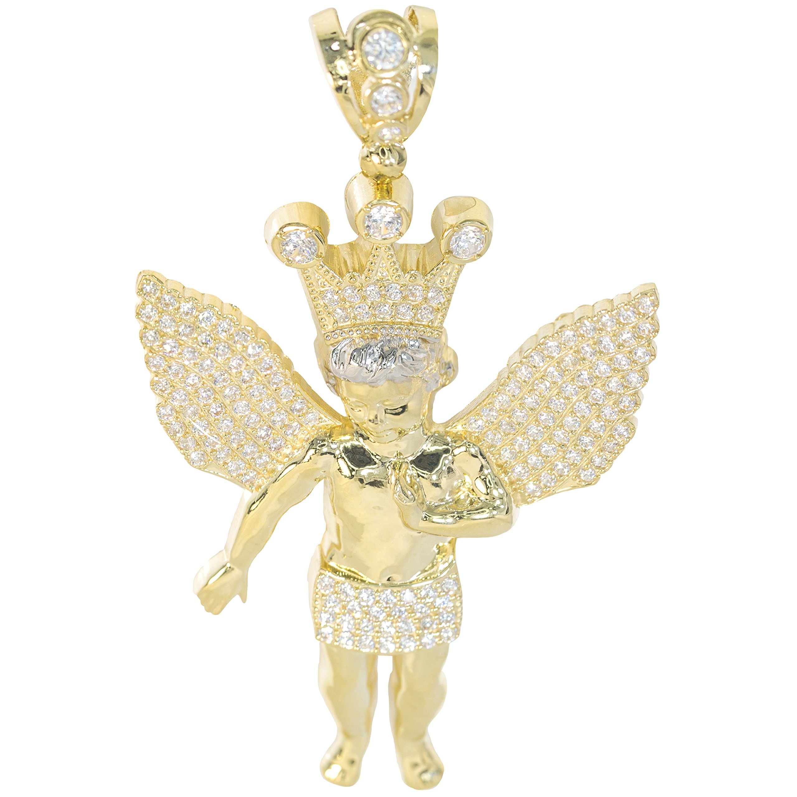 IcedJewels 5.30 cttw Round CZ 10K Yellow Gold Winged Angel Crown Prayer Saint Micro Pave Religious Christianity Symbol Unity Love Extra Large Pendant