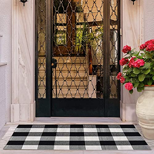 KyCyn Buffalo Plaid Check Rug- 3×5 ft Large Washable Cotton hand-Woven Black and White Checkered Rug Runner for Farmhouse Rug Outdoor Rug Porch Rug Kitchen Rug bathroom rug entry rug White not cream
