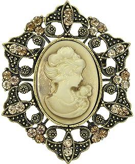 71c109be2 Gyn&Joy Vintage Inspired Cameo Victorian Lady Maiden Crystal Rhinestone  Brooch Pin BZ093