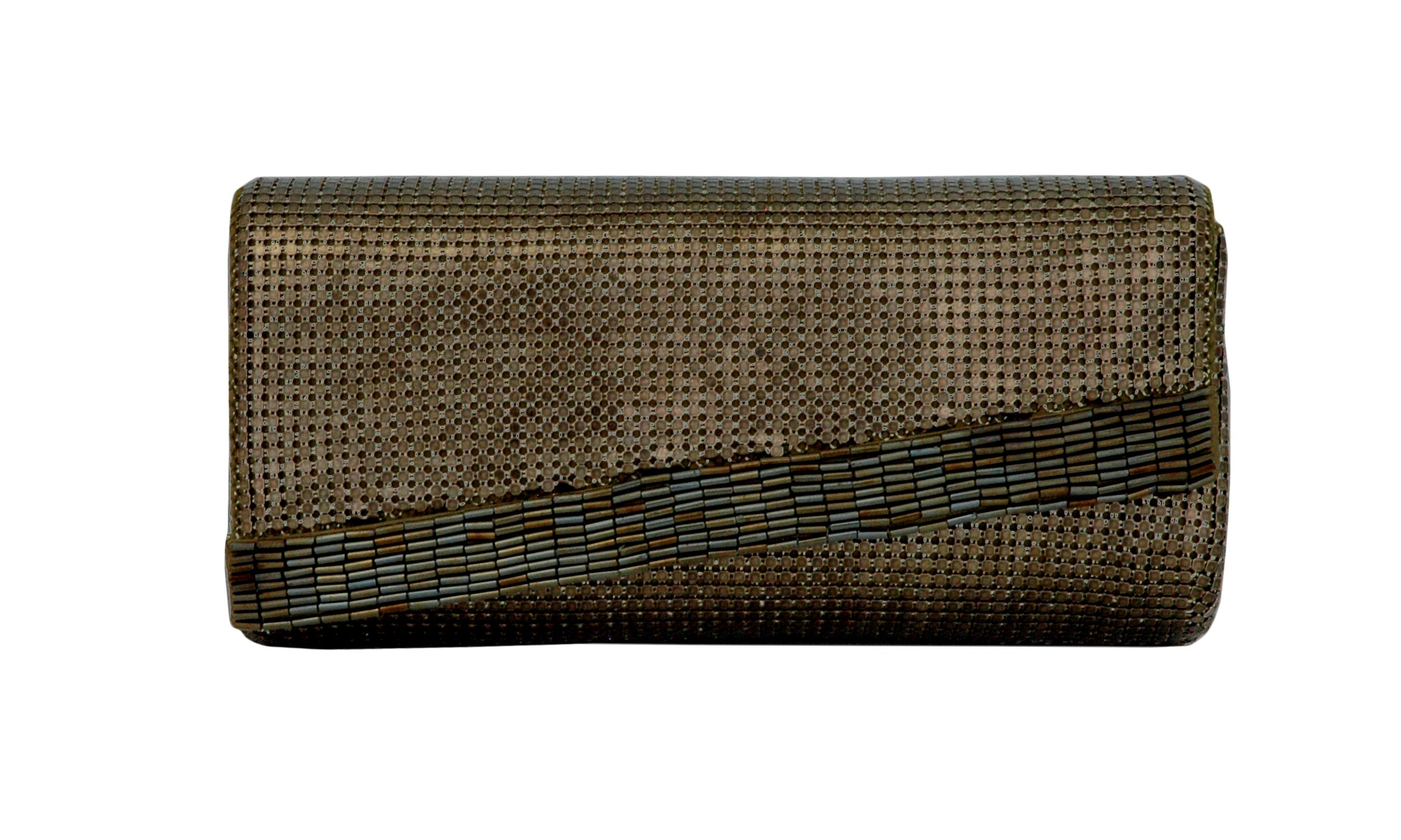 Whiting and Davis Beaded Edge Clutch (Antique Gold)