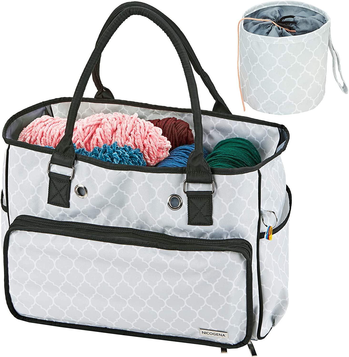 NICOGENA Knitting Bag, Portable Yarn Storage Tote for Yarn Skeins and Accessories Tangle Free with Mini Yarn Drum and 4 Oversized Grommets, Lantern White