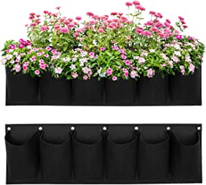 COSYLAND Hanging Garden Planter with 6 Pockets, Wall Hanging Planting Grow Bags Flowerpot for Succulents Flowers Basil Ferns Strawberry Great Outdoor Wall Decor for Patios and Gardens
