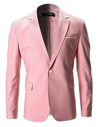 fdcac1641ef643 FLATSEVEN Mens Slim Fit Cotton Stylish Casual Blazer Jacket (BJ202) Pink