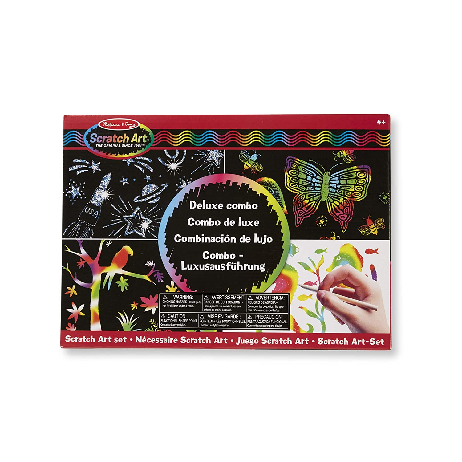 Melissa & Doug 15981 Deluxe Combo Scratch Art Set with 16 Boards, 2 Stylus Tools, 3 Frames