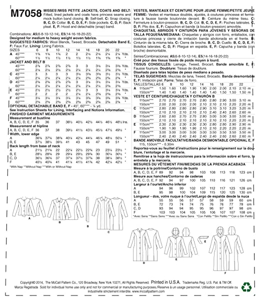 Amazon.com: McCall Pattern Company M7058 Misses/Miss Petite Jackets, Coats and Belt Sewing Template, A5 (6-8-10-12-14): Arts, Crafts & Sewing
