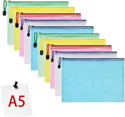 Pochette Document 12 Pcs 12 Pcs a4 a5 a6 b4 b5 b6 Document Dossier Pochette PVC Zip Transparentes Documents Dossier pour Fournitures Bureaux Voyage