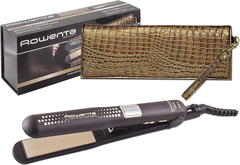 Rowenta Ultimate Styler Gold SF6021E0 - Plancha pelo recubrimiento de cerámico, función 2 en 1 para alisado y rizos perfectos con placas flotantes y estrechas, incluye termoprotector