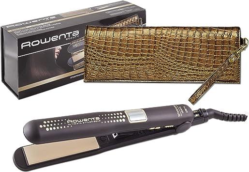 Oferta amazon: Rowenta Ultimate Styler Gold SF6021E0 - Plancha pelo recubrimiento de cerámico, función 2 en 1 para alisado y rizos perfectos con placas flotantes y estrechas, incluye termoprotector