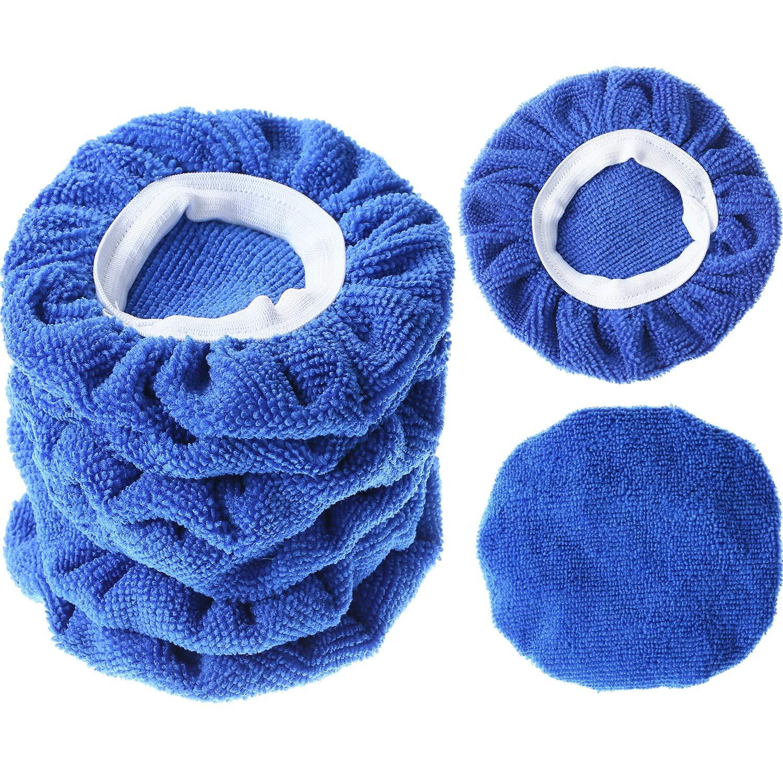 TecUnite 8 Pack Polishing Bonnet Buffing Pad Cover Soft Microfiber Car Polisher Pad Bonnet for Car Polisher (Dark Blue, 7 to 8 inches)
