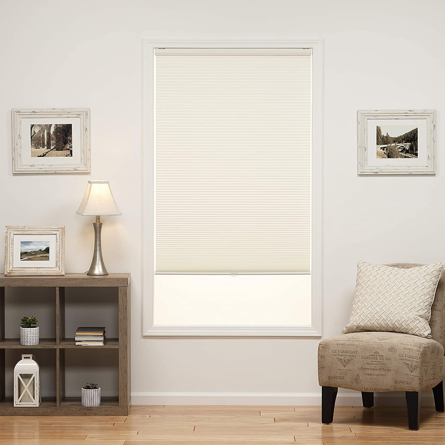 31W x 64H Inches Cream DEZ Furnishings QCCR310640 Cordless Light Filtering Cellular Shade