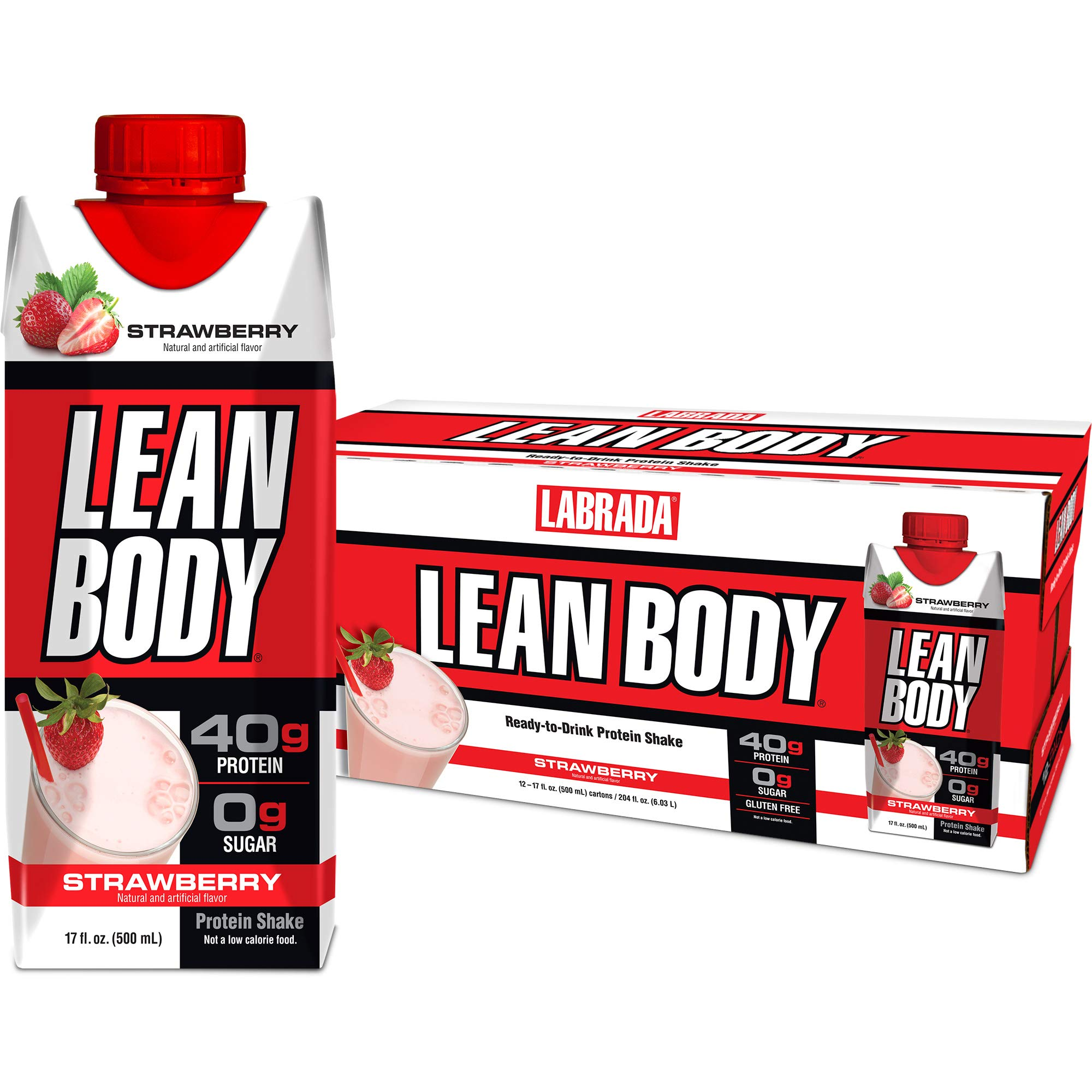 LABRADA - Lean Body Ready To Drink Whey Protein Shake, Convenient On-The-Go Meal Replacement Shake for Men & Women, 40 grams of Protein - Zero Sugar, Lactose & Gluten Free, Strawberry (Pack of 12) by Labrada