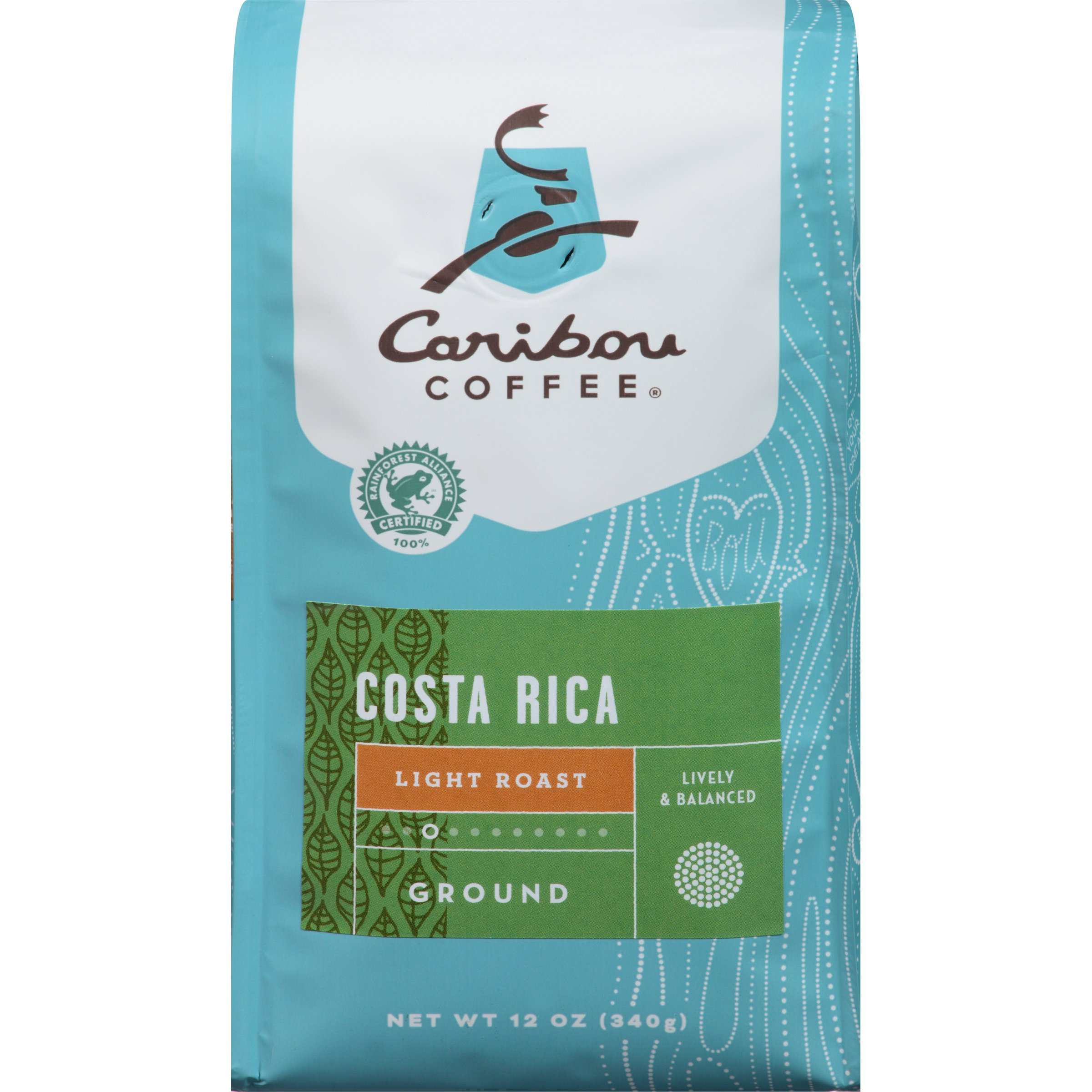 Caribou Coffee, Costa Rica, 12 oz. Bag, A Light Roast, South American Coffee that is Bright & Lively, with A Balanced Body & Smooth Finish, 100% Arabica Coffee Beans; Sustainable Sourcing