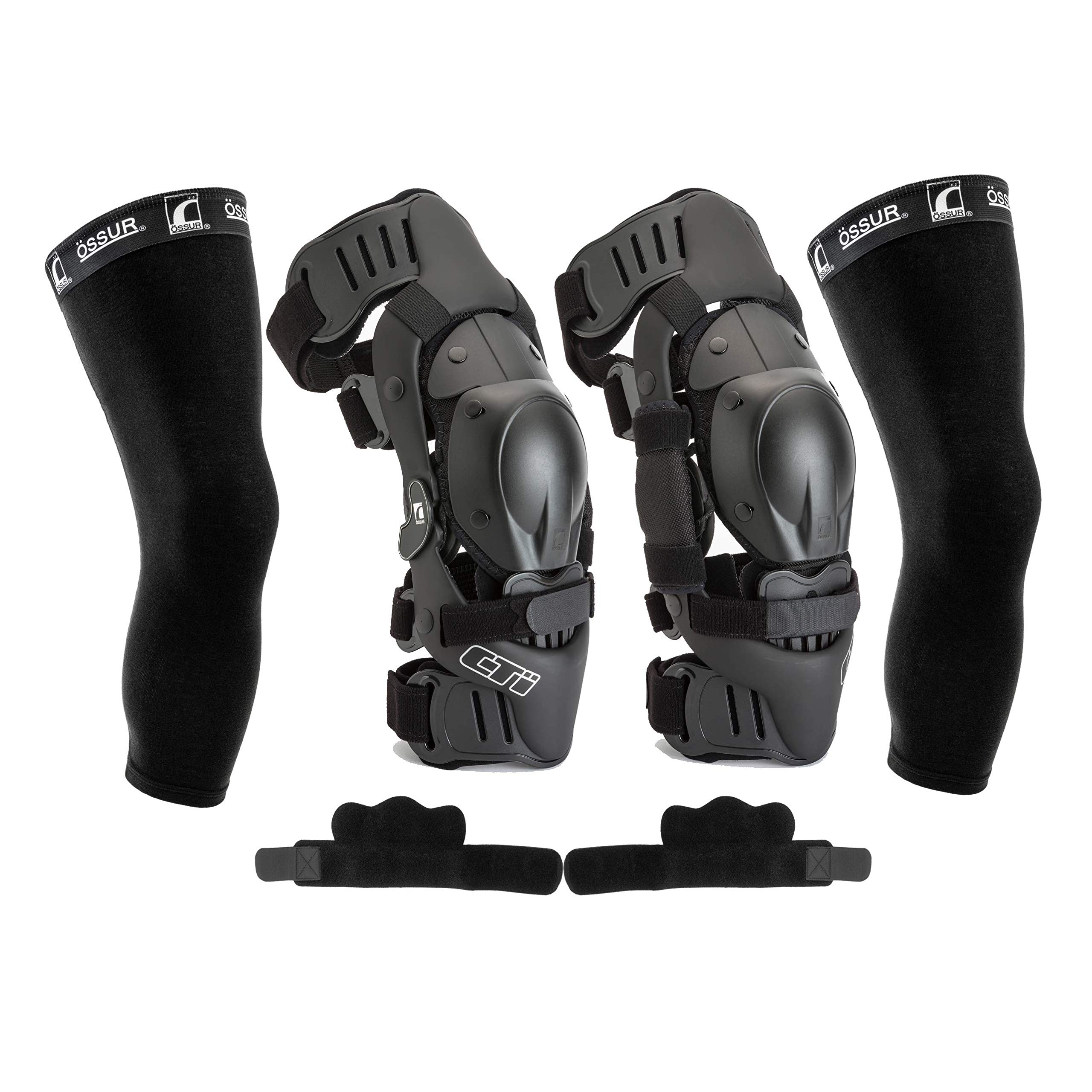 CTi Knee Brace Protection Set - Includes Right and Left Sides, Patella Protectors, Gear Guards, Anti-Migration Wraps, Under-Sleeves – for Motocross, Snowboarding, Skiing, Skating, Wakeboard (Small)