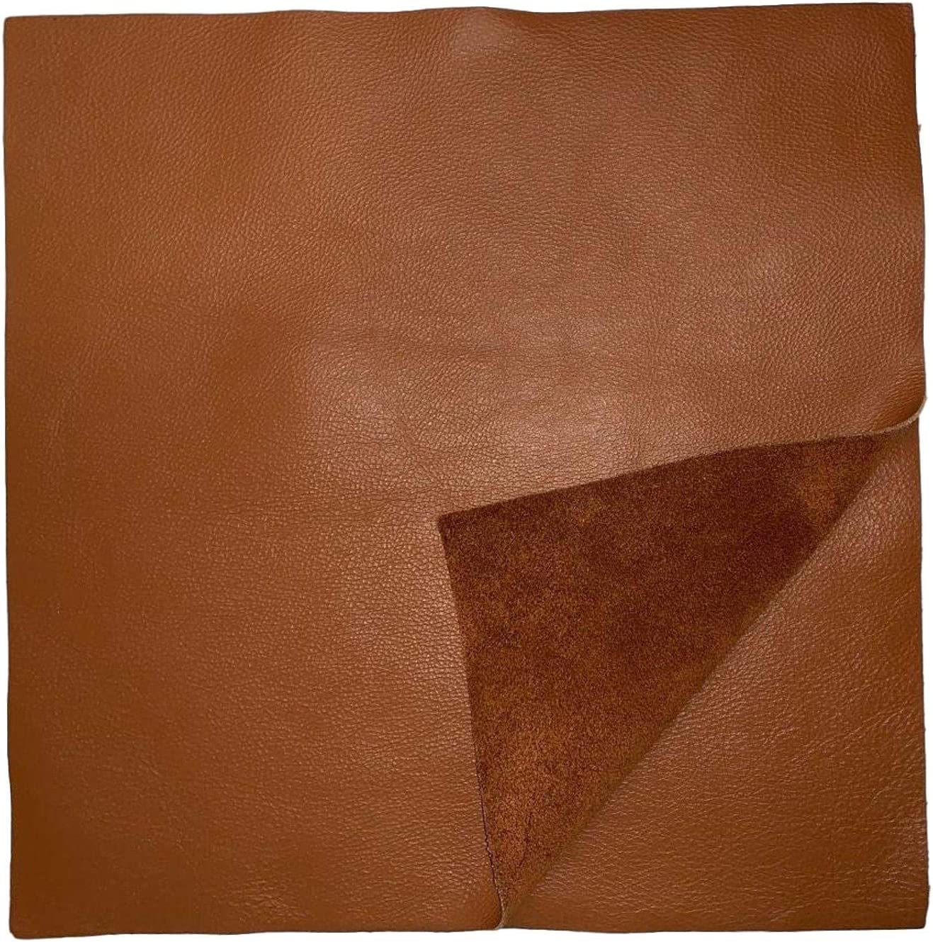 12 x 12 Cognac Cowhide: Soft Natural Pebble Grain Leather 2.5-3 oz Garments Perfect for Handbags and Leather Crafts! Shoes
