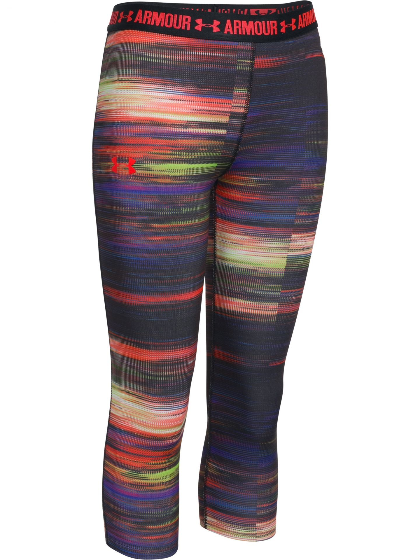 Under Armour Girl's HeatGear Armour Printed Capris, Black (002)/Rocket Red, Youth Small
