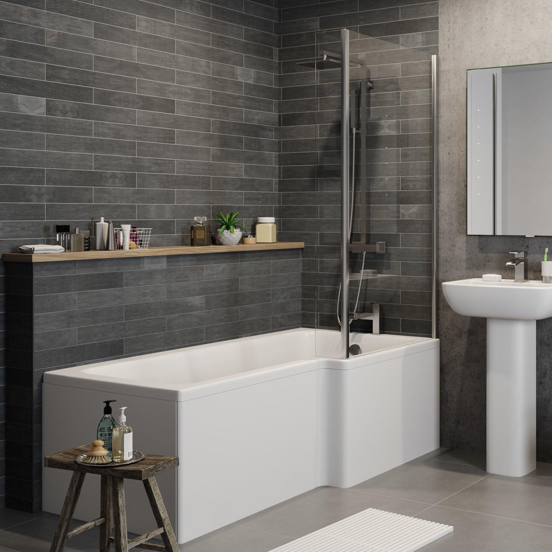 Affine - Mampara de Baño para Inodoro con Forma de L: Amazon.es: Hogar