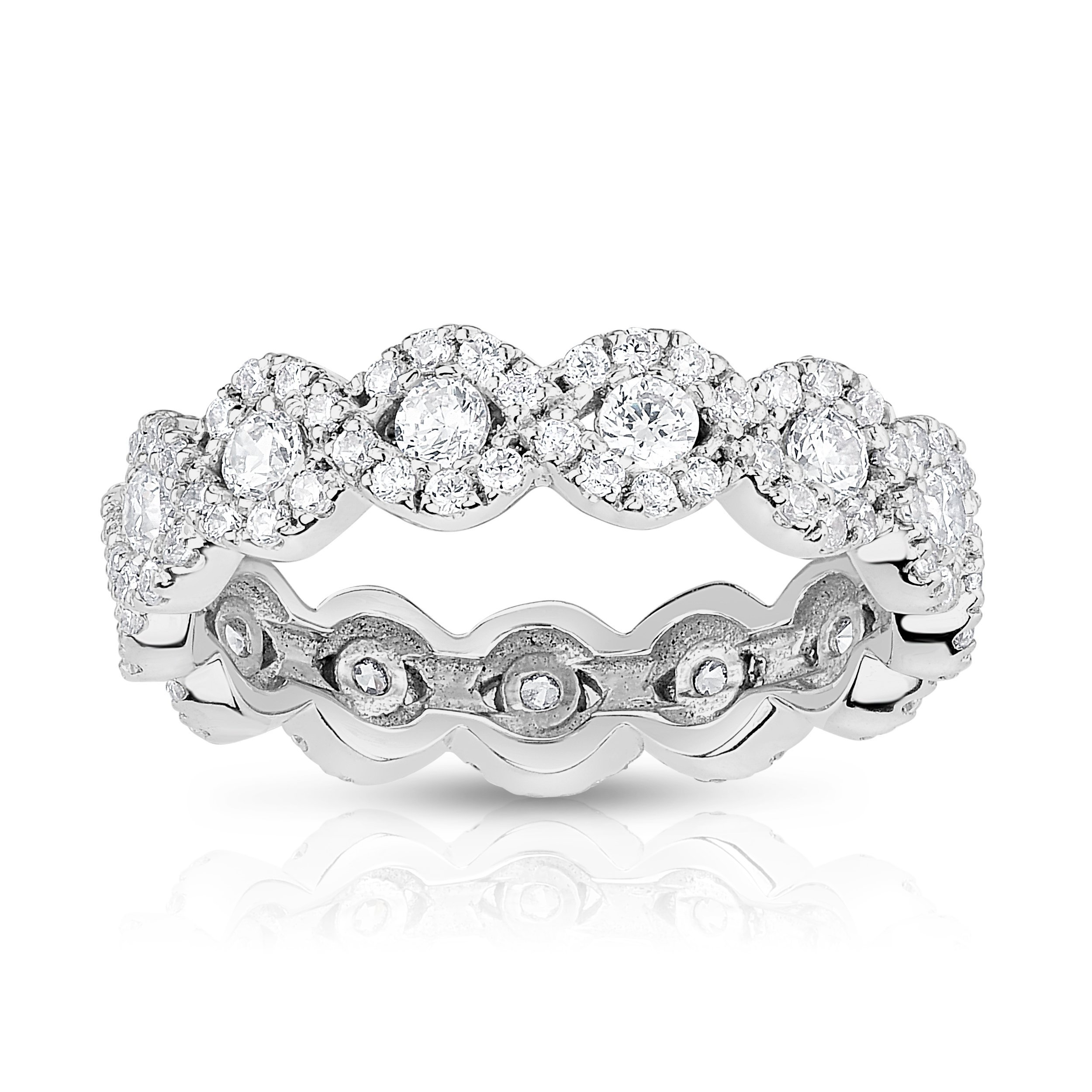 Noray Designs 14K White Gold Diamond (1.00 Ct, G-H Color, SI2-I1 Clarity) Eternity Wedding Ring