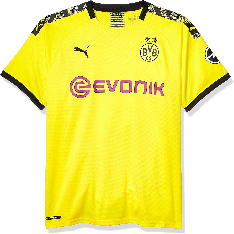 L PUMA Mens Standard BVB Home Shirt Replica with Evonik OPEL Logo Cyber Yellowpuma black