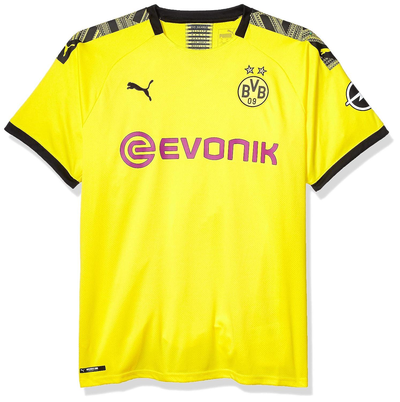 Cyber Yellowpuma black PUMA Mens Standard BVB Home Shirt Replica with Evonik OPEL Logo M
