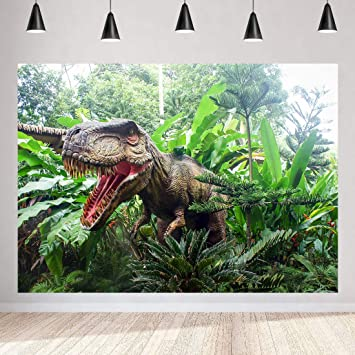 Jewderm 9x6ft Dinosaur Photography Backdrop Jurassic Forest Background for Party Cake Table Wall Decoration Photographic Cloth Curtain Studio Props Photo Booth