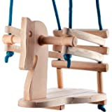 Toddler Wooden Swing - Cute Horse Figure Safety Seat - Natural Wood Swing For Nursery Or Outdoors Garden color of rope may vary.