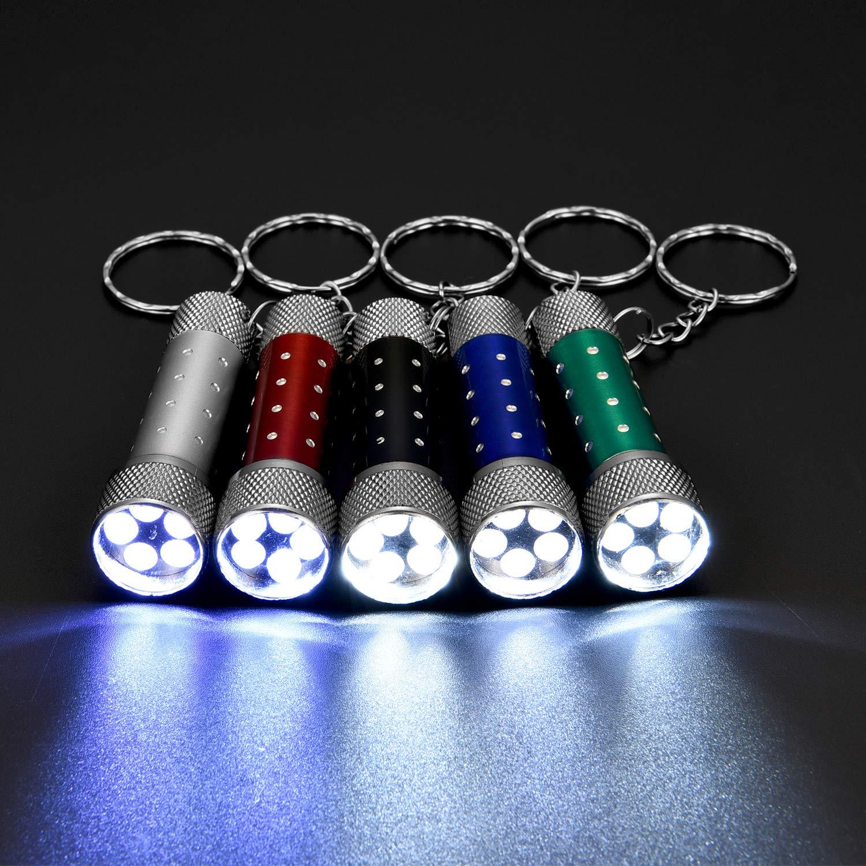 Style 3 20 Pi/èces de Mini Lampes de Poche avec Porte-Cl/és 5 Ampoules LED de Porte-Cl/és pour Camping d/'Enfants et Faveur de F/ête