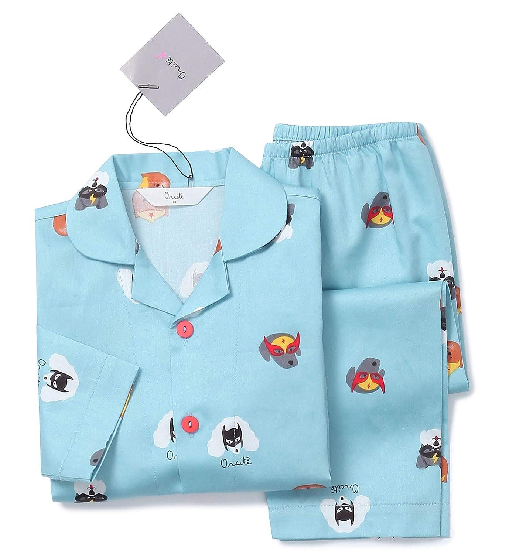 Orcite Boys Kids Long Sleeve Pajama Set Button Down Sleepwear Nightwear pjs Size 2T-12 Years Kammi Apparel 19SBGE002