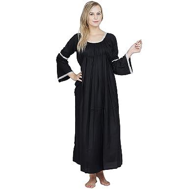 c8ff2da0030cf Patrorna Women's Cape Sleeve Blouseon Shift Maternity Nighty Night Dress  Gown in Black (Size S