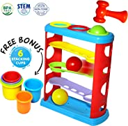 Pound a Ball Toy for Toddlers with 6 Bonus Stacking Cups, Hammer and Ball Pounding Montessori Toys for Babies, Fun Learning