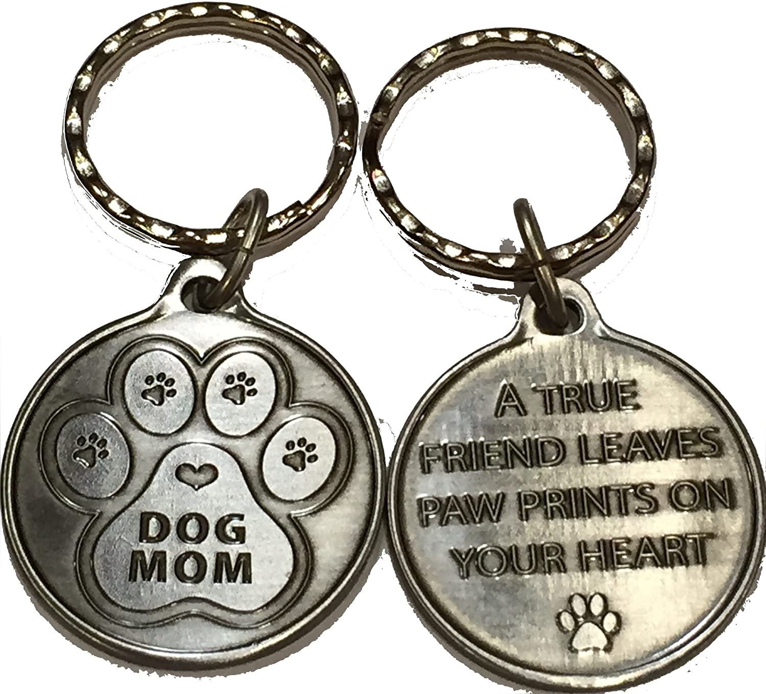 Dog Mom - A True Friend Leaves Paw Prints On Your Heart Keychain Pewter Color RecoveryChip DMBELoopN