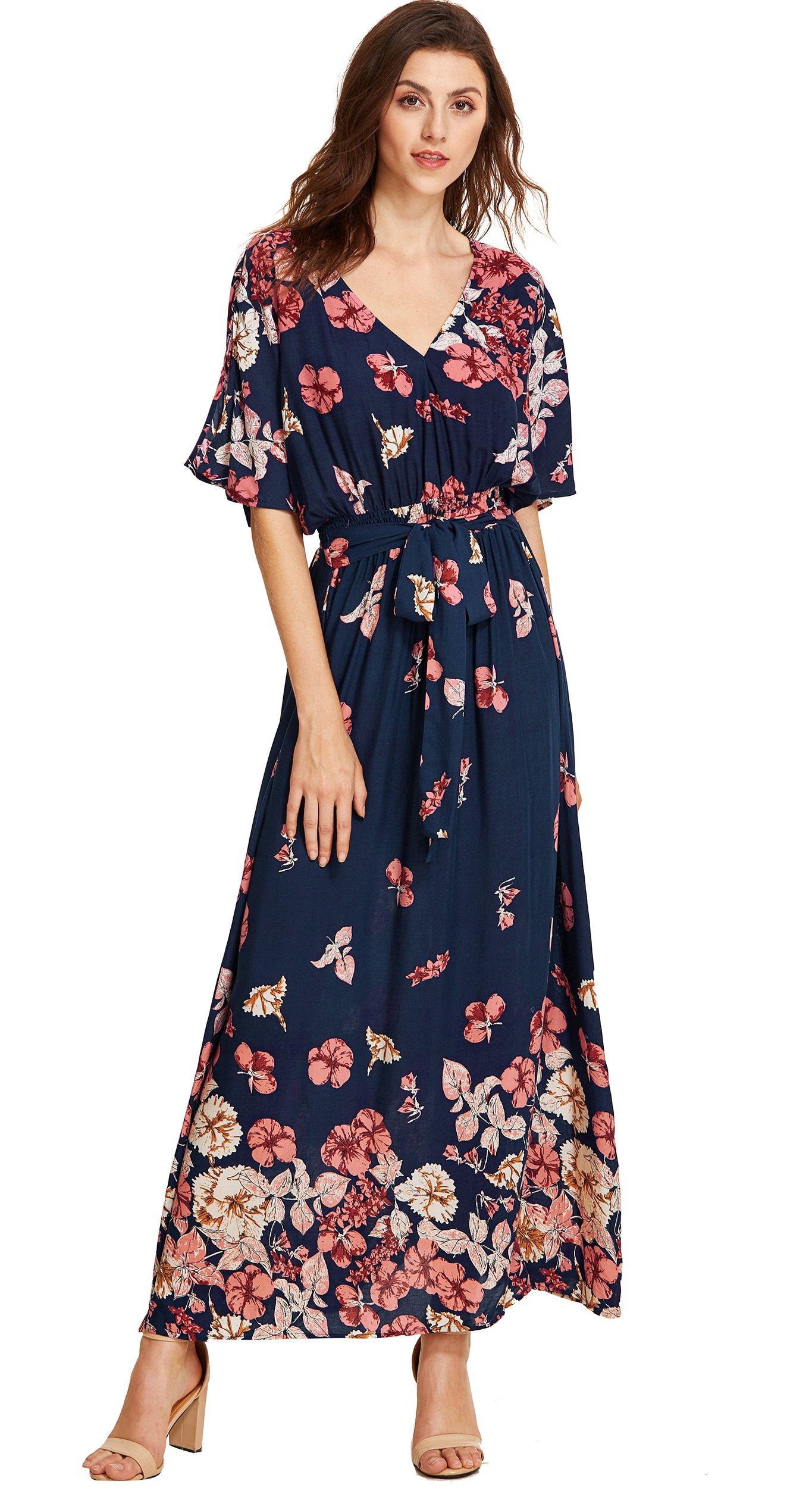 f557e9f83a38 Galleon - Milumia Women s Boho Split Tie-Waist Vintage Print Maxi Dress  Large Multicolor