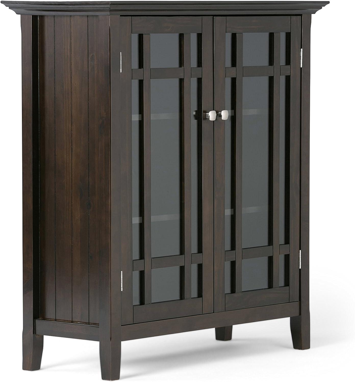 Simpli Home 3AXCBED-02 Bedford Solid Wood 39 inch Wide Rustic Medium Storage Cabinet in Dark Tobacco Brown