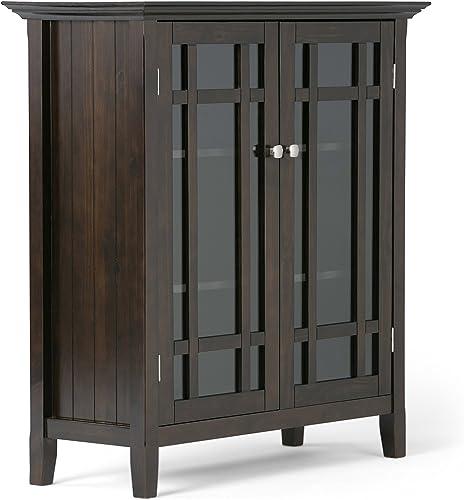 Simpli Home Bedford Storage Media Cabinet, 39 WX42 H, Dark Tobacco Brown
