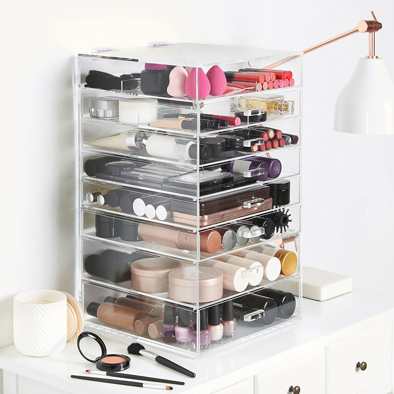 Beautify Makeup Organiser Acrylic Clear Extra Large 8 Tier Cosmetic