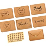 Ohuhu 36 Pack Brown Kraft Paper Thank You Cards Thank U Greeting Card W/ 36 Kraft Paper Envelopes and 36 Pcs Envelope Thank You Stickers for Wedding, Graduation, Baby Shower, 4 x 6 Inches
