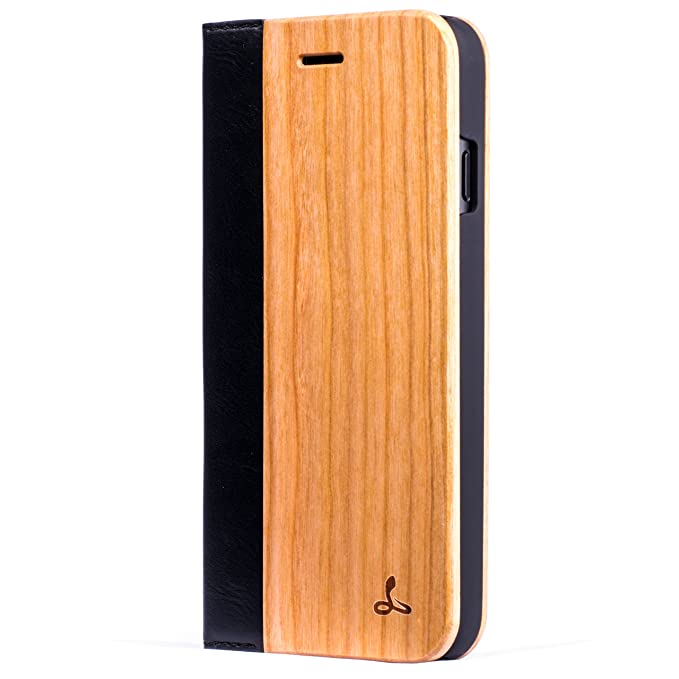 meet c43df fbbe2 Apple iPhone 7 Wood Wallet Wood Case Wood Cover for Apple iPhone 7 - Made  from Real Wood and PU Leather by Snakehive - Cherry