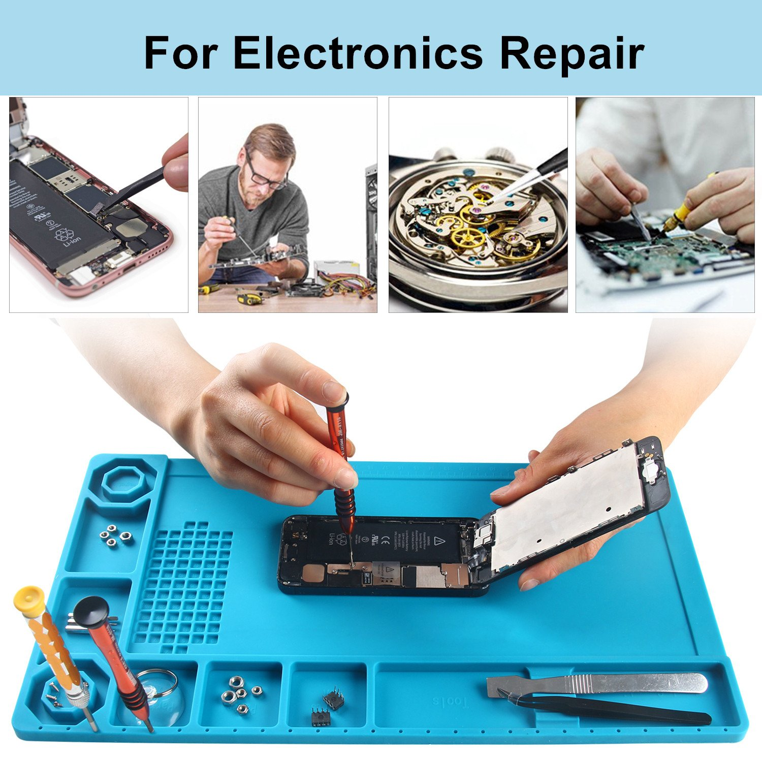 SEASWAL Silicone Solder Mat, Magnetic Heat Insulation Work Mat, with Tools Parts Organizer Electronics Repair Mat for Soldering Iron, Heat Gun, Phone and Computer Repair 15''x8.3'' Blue by SEASWAL (Image #3)