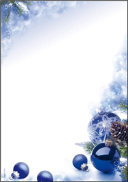 Sigel Dp034 Papier à Lettre De Noël Boules De Noël 21 X 29 7 Cm 90g M Blanc Et Bleu 100 Feuilles